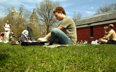 Students can take online courses wherever they are like this NYU student .