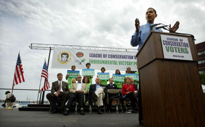 Barack Obama addresses the League of Conservation Voters Environmental Victory Rally in Boston in 2004.
