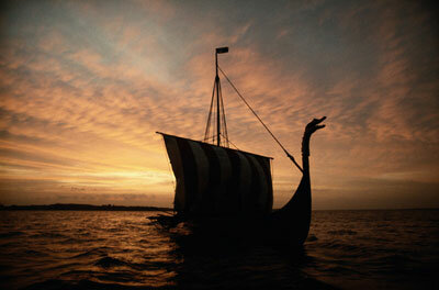 Colonizers, merchants, and ruthless raiders, the Vikings swept out of Scandinavia to terrorize Europe in swift vessels like this Danish reproduction.