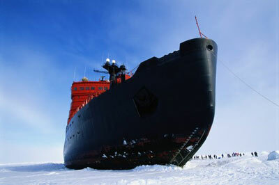 A Russian nuclear icebreaker carries tourists to the North Pole.