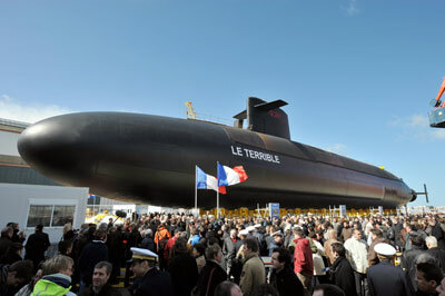 The French submarine Le Terrible is inaugurated on March 21, 2008, in Cherbourg, France. Le Terrible was developed entirely through computer-assisted design and will begin service in 2010. See more submarine pictures.