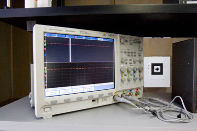 "The ""Prototype This!"" team's oscilloscope isn't currently in use, but if it was, you'd be able to see a wave fluctuating across its screen."