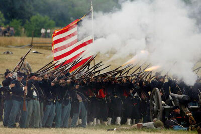 Reenactors open fire on the 142nd anniversary of the Battle of Gettysburg