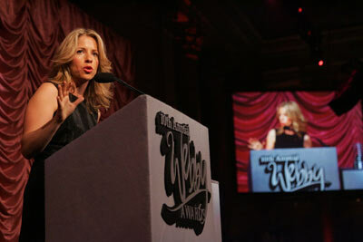 Webby Awards Founder and Ambassador Tiffany Schlain addresses gala attendees at the 10th annual Webby Awards.