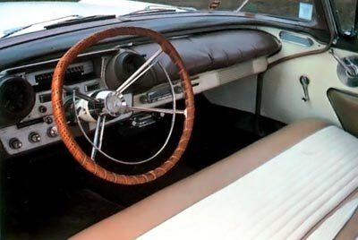A detailed look at the 1957 Mercury Turnpike Cruiser hardtop sedan shows the gadget-packed interior.