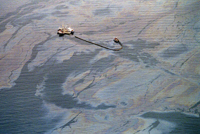 Oil Field Image Gallery A crew attempts to skim oil from the surface of the waters of Prince William Sound following the 1989 Exxon Valdez wreck. See more oil field pictures.