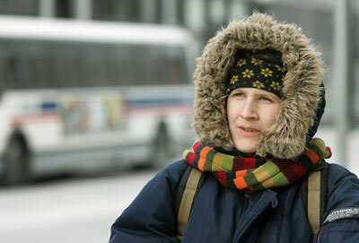 A fur lined parka helps keep this Chicago woman warm in sub-zero wind chill.
