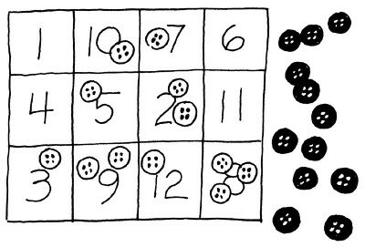 Flip buttons onto numbered spaces.