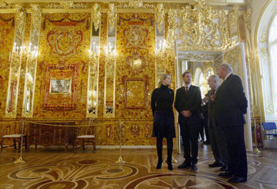Norwegian royals visit a reproduction of the Amber Room in Ekaterininski Palace in Pushkin village near St. Petersburg, Russia.