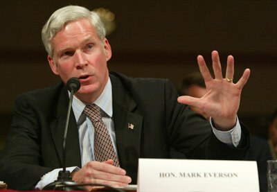 On October 21, 2003, IRS Commissioner Mark Everson discusses abusive tax shelters before the Senate Finance Committee in Washington, D.C. See more tax pictures.