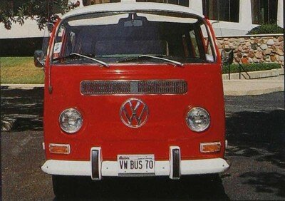 This Titian Red and Cloud White 1970 Station Wagon model retailed for $2,772. Its rear-mounted air-cooled four-cylinder engine had 57 horsepower.