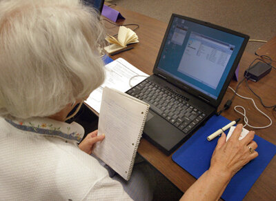 Students of all ages can take e-learning courses. Some courses focus on increasing job skills.