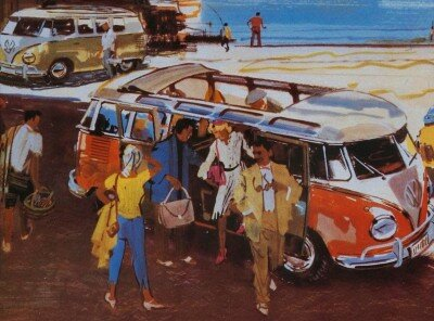 The first Volkswagen Bus, seen here in an early brochure, debuted in 1950 and was called the Transporter, or VW Type 2.