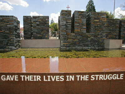 A memorial in South Africa marks the death of schoolchildren who were gunned down during apartheid.