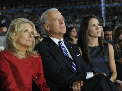 Jill, Joe and Ashley Biden listen to Barack Obama's speech at the DNC in August 2008.