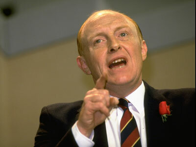 British Labor Party leader Neil Kinnock speaking in 1987. Biden would later be accused of plagiarizing Kinnock's speeches.