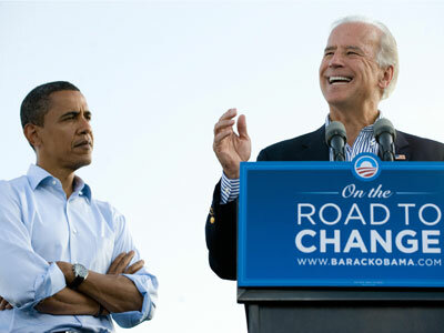 Sen. Joe Biden introduces his running mate at a rally in Dublin, Ohio, in August 2008.