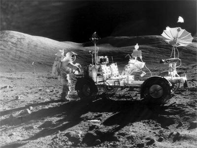 In December 1972, Apollo astronauts Eugene Cernan and Harrison Schmitt spent about 75 hours exploring the moon's Taurus-Littrow valley. The two were the last humans to walk or ride on the moon -- aided in their explorations by a lunar roving vehicle.
