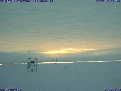 The NOAA North Pole webcam shows the sun low in the sky just before the fall equinox.