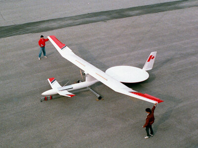 The Stationary High Altitude Relay Platform (SHARP) unmanned plane could run off power beamed from the Earth.