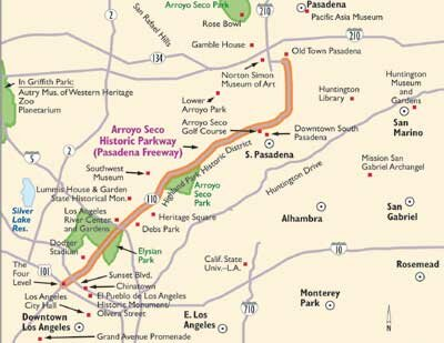 View Enlarged Image This map will help guide you along the Arroyo Seco Parkway.