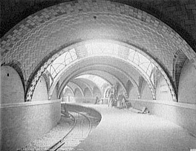 The City Hall subway station in New York City, circa 1900-1906. See amazing train videos.