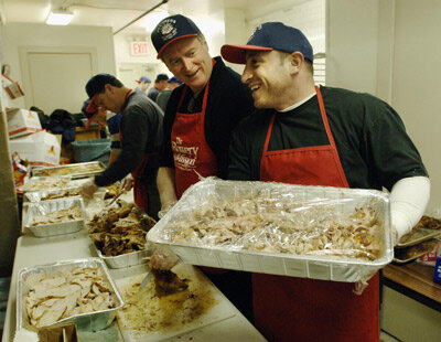 The Bowery Mission is always looking for volunteers to help serve food on Thanksgiving Day.