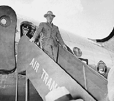 """Harry Truman arriving in Berlin on the """"Sacred Cow"""" in 1945"""