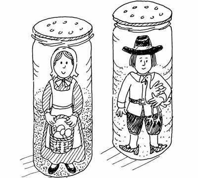 Salt and pepper pilgrims Thanksgiving craft.