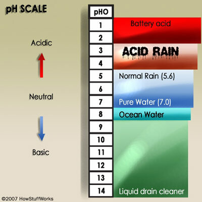The pH scale is a measure of acidity and alkalinity. Acid rain has a pH of 5.0 or less.