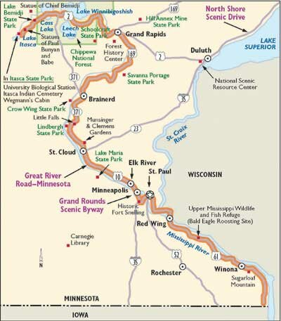 Use this map of the Great River Road to guide you to some of Minnesota's most beautiful sights and most significant historical locations.