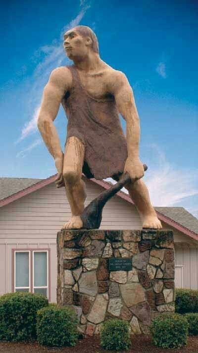 The Caveman Statue represents the club that used to meet in the cave system near Grants Pass, Oregon.