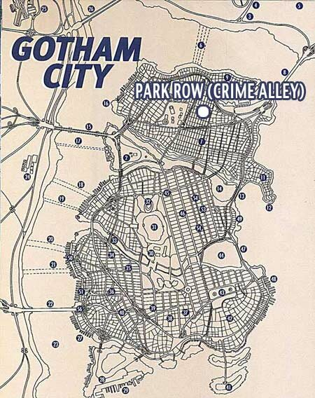 Map of Gotham City (focus on Park Row)