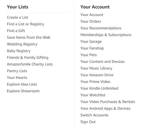 Amazon Prime menu