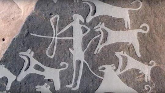 Saudi Arabian Rock Art Depicts Prehistoric Dogs on Leashes
