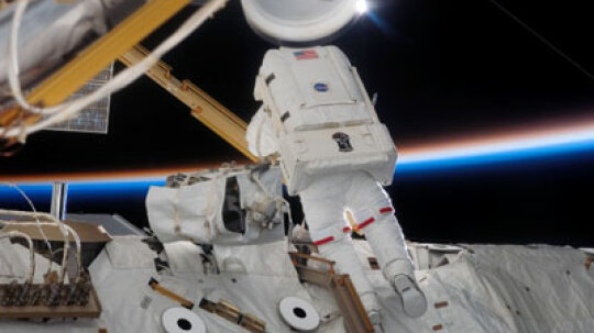 Why is a baby monitor picking up video of the space shuttle?