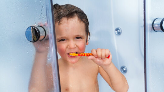 Who Brushes Their Teeth in the Shower?