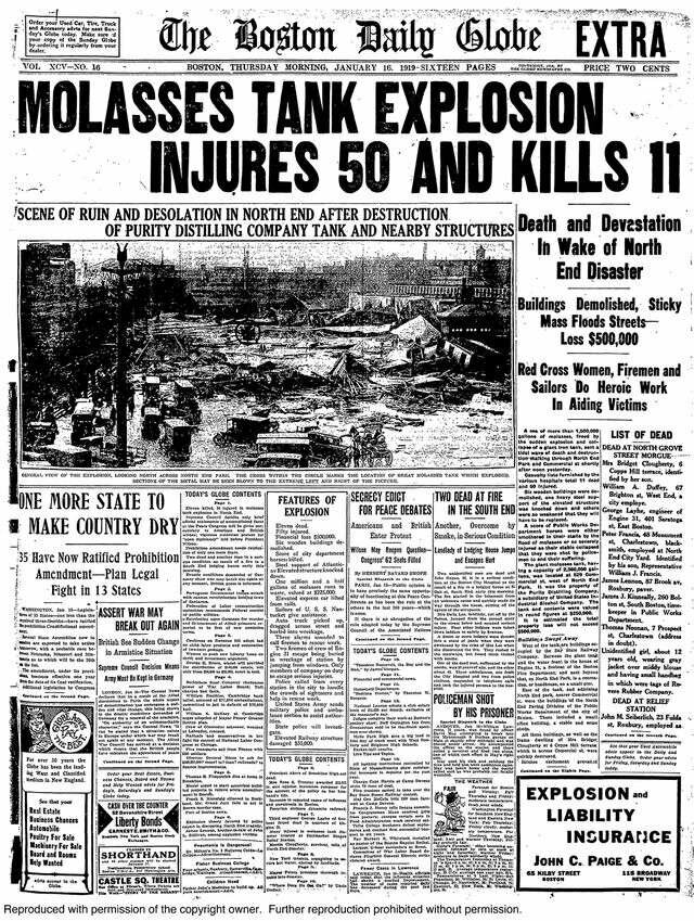 "The front page of an extra edition of ""The Boston Globe"" following the disaster."