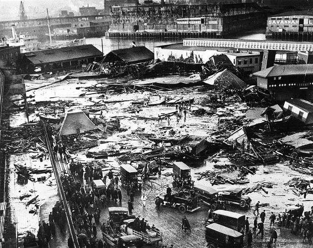 The aftermath of the Boston Molasses Flood