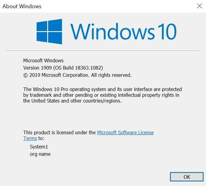 Windows operating system info: version and build