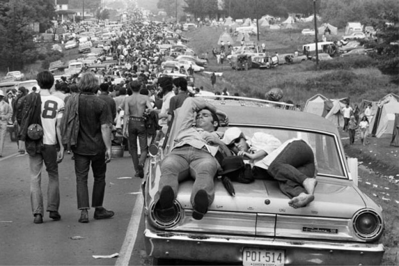 Aug. 27, 1969: Folks head out from the epic party that was the Woodstock Music Festival (except for those two sleeping on the car). © Bettmann/CORBIS