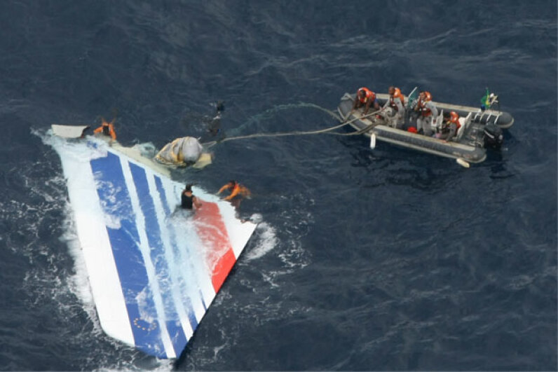 Brazilian Navy divers recover a huge part of the rudder of the Air France Airbus A330 out of the Atlantic Ocean, some 745 miles (1,200 kilometers) northeast of Recife. The crash had occurred eight days before, on June 1, 2009. See more flight pictures. © Brazilian Air Force/Handout/Xinhua Press/Corbis