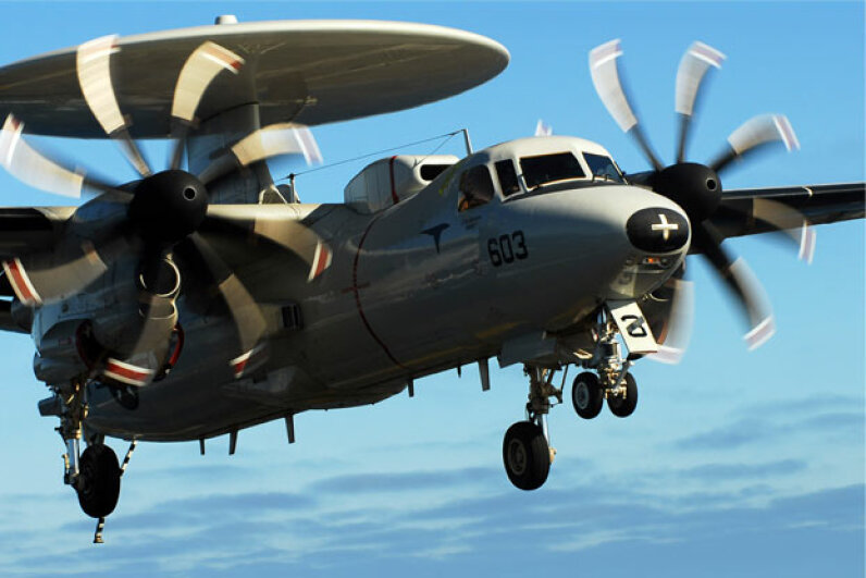 You can clearly see the landing gear on this E-2C Hawkeye as it approaches the flight deck of USS John C. Stennis. Stocktrek Images/Thinkstock