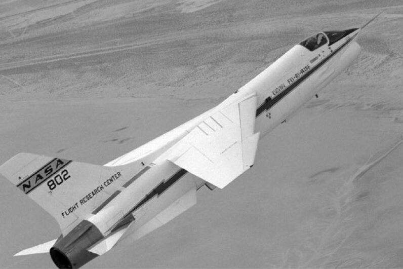 Gary Krier made the first flight of the F-8 Digital Fly-By-Wire aircraft. It used the Apollo 15 command module computer for control. It had a total memory of 38K, of which 36K was read only. Image courtesy NASA