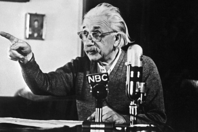 Einstein declares his opposition to the H-bomb and to the arms race between the USA and the USSR on Feb. 14, 1950, during a TV broadcast that created a considerable stir in the U.S. and all over the Western world. AFP/Getty Images