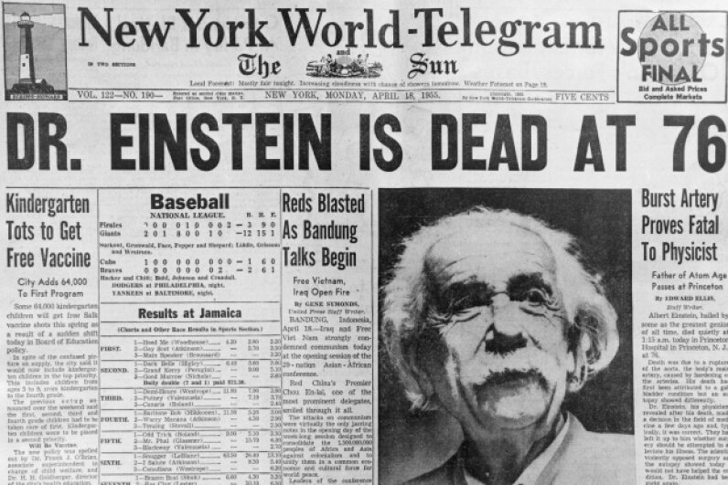 The New York World-Telegram blares the news of Einstein's passing. The 20th century's most famous scientist died on April 18, 1955. © Underwood & Underwood/Corbis