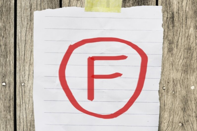 Grades get kind of confusing when school officials turn F's into A's and vice versa. A switcheroo like that may have been responsible for the rumor that Einstein flunked math. nuiiko/iStock/Thinkstock