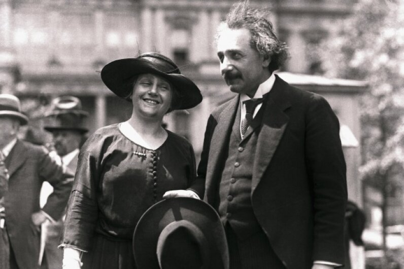 And here's Einstein with his second wife (and cousin) Elsa on April 1, 1921. The two wed on June 2, 1919. © Bettmann/Corbis