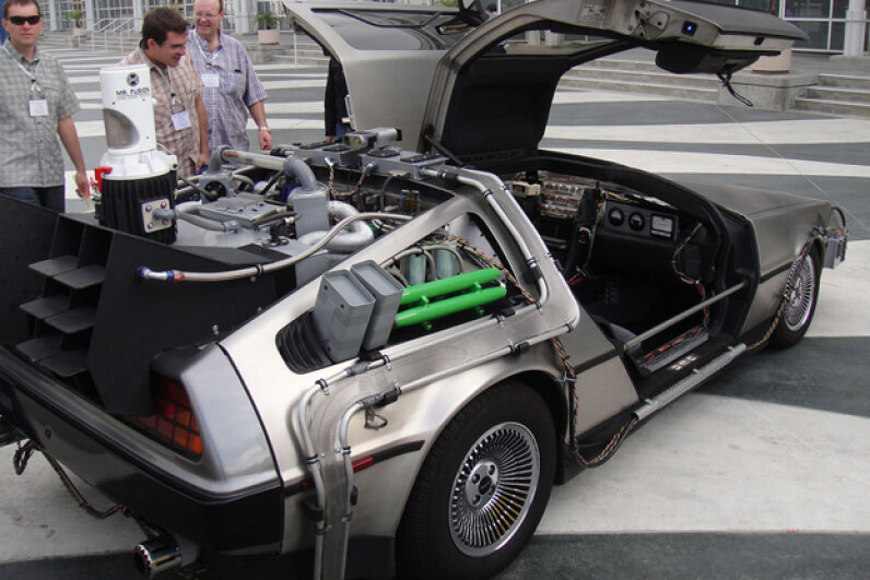 """""""Back to the Future"""" DeLoreans draw a crowd wherever they go. (Creative Commons/flickr/Pop Culture Geek)"""