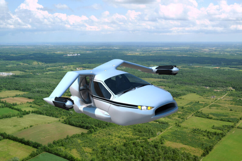 The Terrafugia TF-X — a four-seat, plug-in hybrid electric flying car with fly-by-wire vertical takeoff and landing (VTOL) capabilities. Image courtesy of Terrafugia